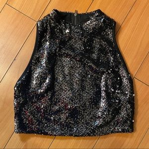 👯‍♀️BRAND NEW Black Mock-Neck Sequin Crop Top